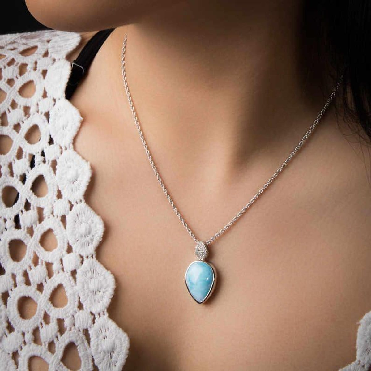 Bliss Pear Necklace - Nblis0P-00-Marahlago Larimar-Renee Taylor Gallery