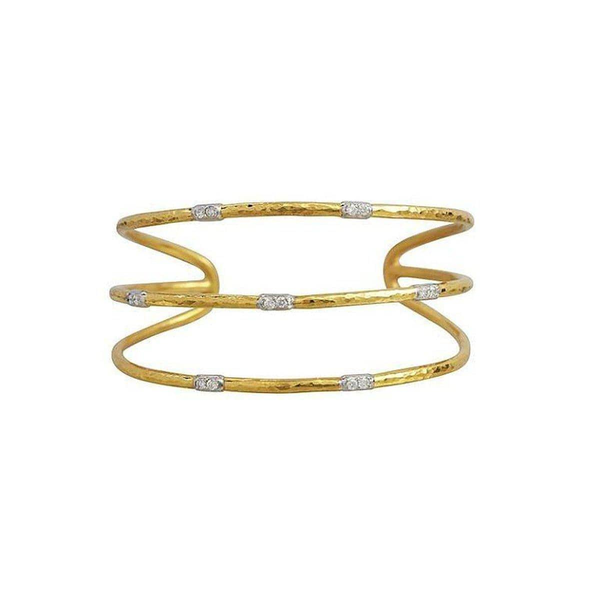 Delicate 22K Gold White Diamond Cuff - CB230-3-7VP2DI