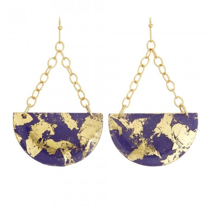 Purple & Gold Semi Circle Earrings - CC403-Evocateur-Renee Taylor Gallery