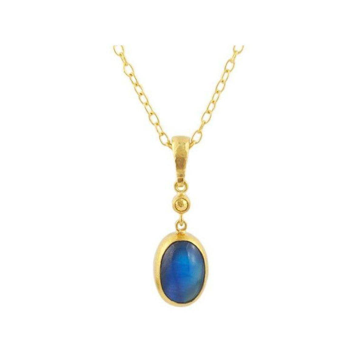 Amulet Hue 24K Gold Blue Moonstone Necklace - CHN-AH-BMNS1410-V-GURHAN-Renee Taylor Gallery