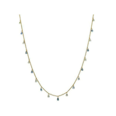 Delicate Hue 22K Gold Sapphire Mix Necklace - CHN-FSB-19BG-18-GURHAN-Renee Taylor Gallery