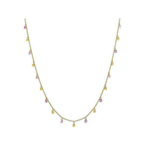 Delicate Hue 24K Gold Sapphire Mix Necklace - CHN-FSB-19PO-18-GURHAN-Renee Taylor Gallery