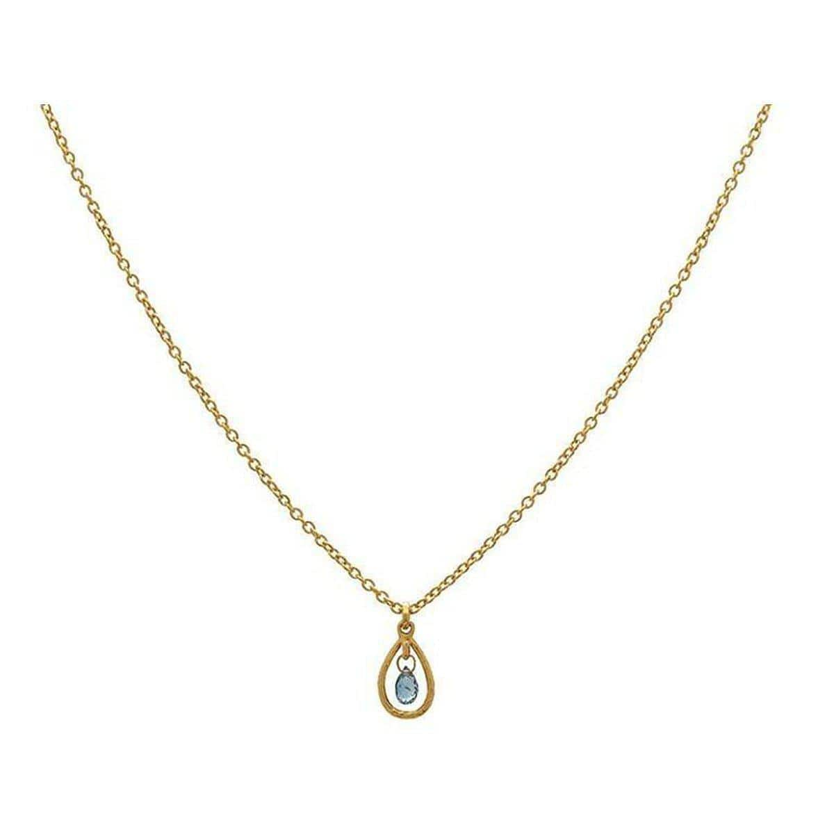 Delicate Hue 22K Gold Sapphire Necklace - CHN-FSB-1FR-1BL-18-GURHAN-Renee Taylor Gallery