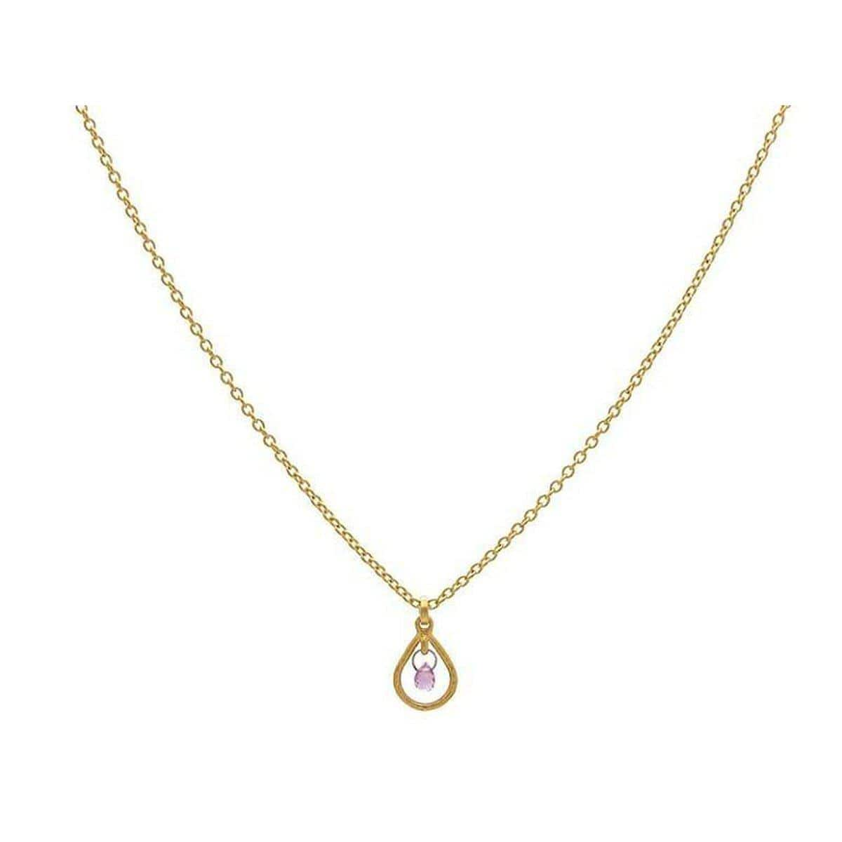 Delicate Hue 24K Gold Sapphire Necklace - CHN-FSB-1FR-1PN-18-GURHAN-Renee Taylor Gallery