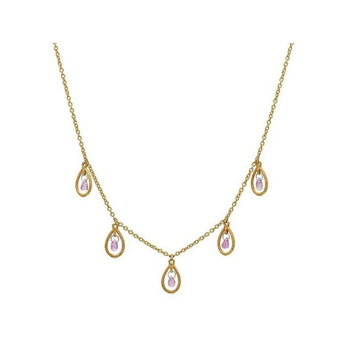 Delicate Hue 24K Gold Sapphire Necklace - CHN-FSB-5FR-5PN-18-GURHAN-Renee Taylor Gallery