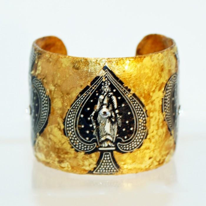 Ace of Spades Gold Cuff - CR101-Evocateur-Renee Taylor Gallery