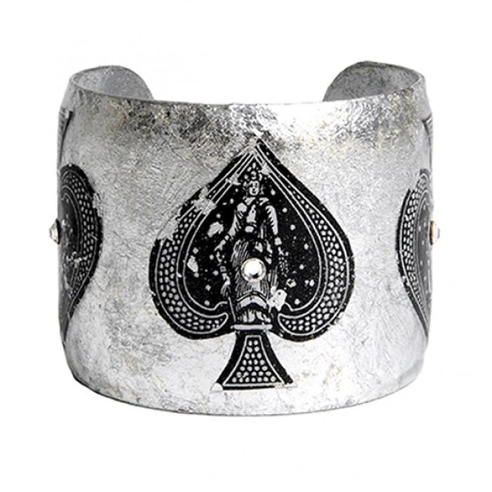 Ace of Spades Silver Cuff - CR102-Evocateur-Renee Taylor Gallery