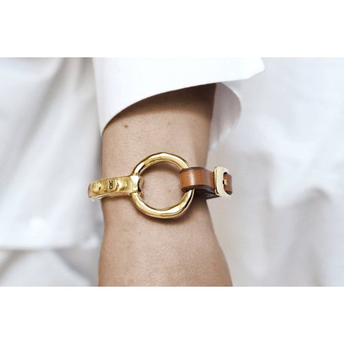 Gold Plated Leather Bracelet - B0001 ORC00-CXC-Renee Taylor Gallery
