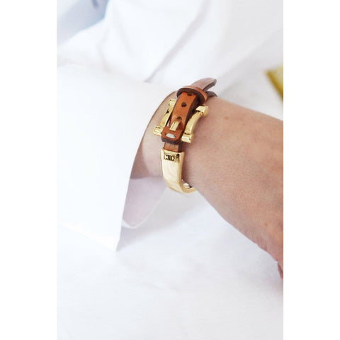 Gold Plated Leather Bracelet - B0055 ORC00-CXC-Renee Taylor Gallery