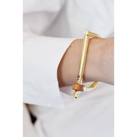 Gold Plated Leather Bracelet - B0059 ORC-CXC-Renee Taylor Gallery