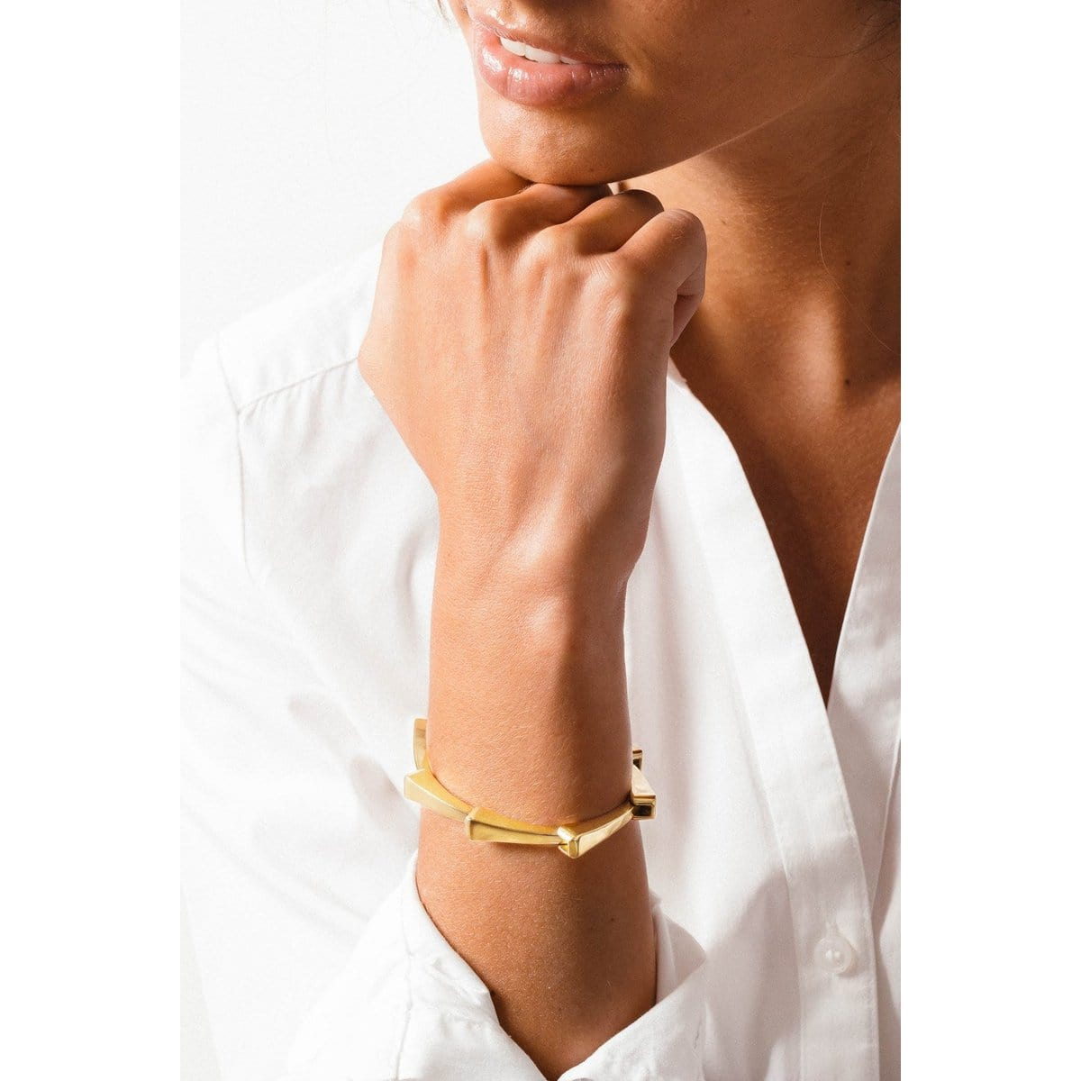 Gold Plated Leather Bracelet - B0106 ORO-CXC-Renee Taylor Gallery