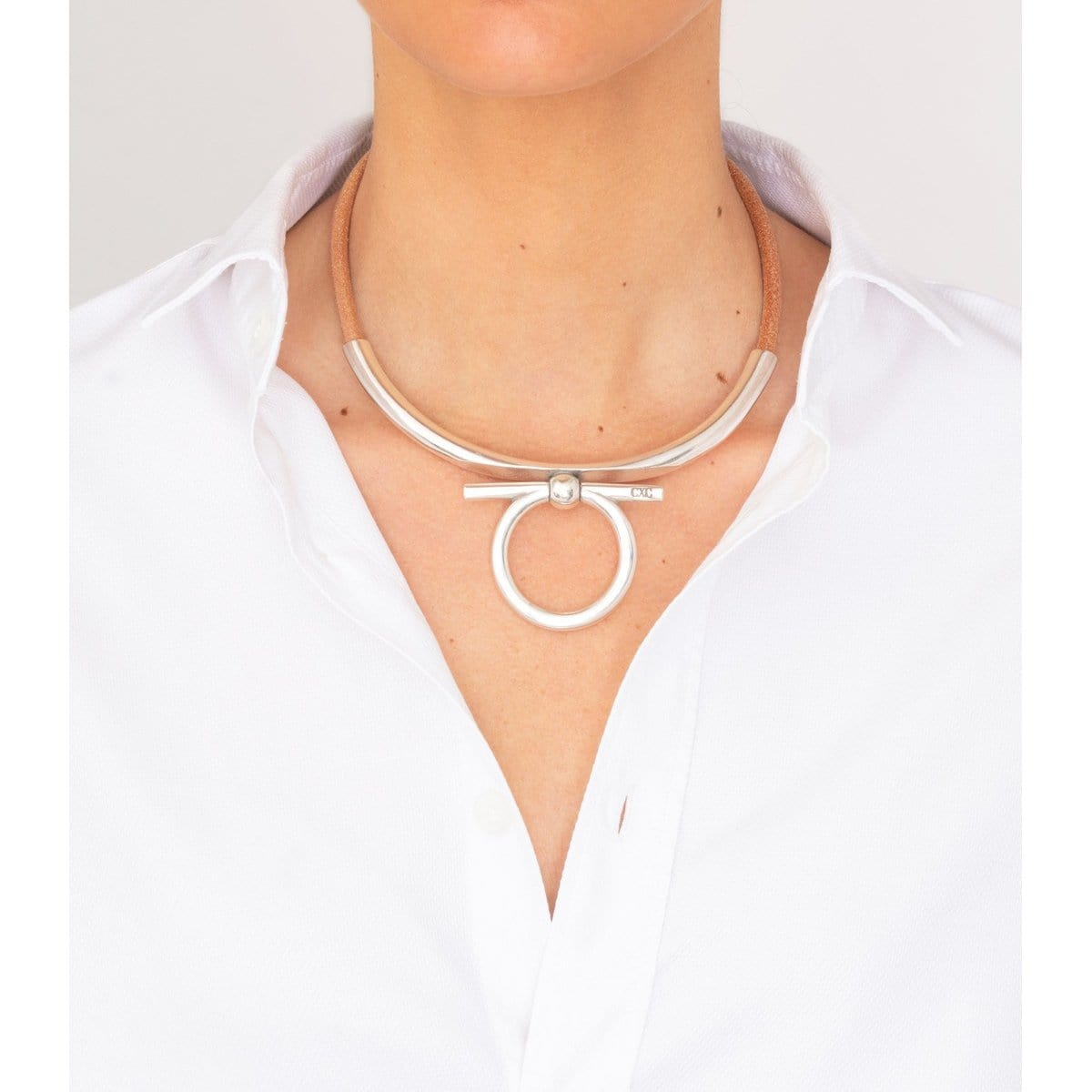 Sterling Silver Plated Leather Necklace - N0067 MCA00-CXC-Renee Taylor Gallery