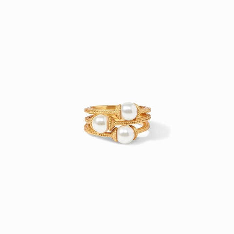 Calypso Gold Pearl Stacking (Set of 3) Ring - R152GPL-Julie Vos-Renee Taylor Gallery