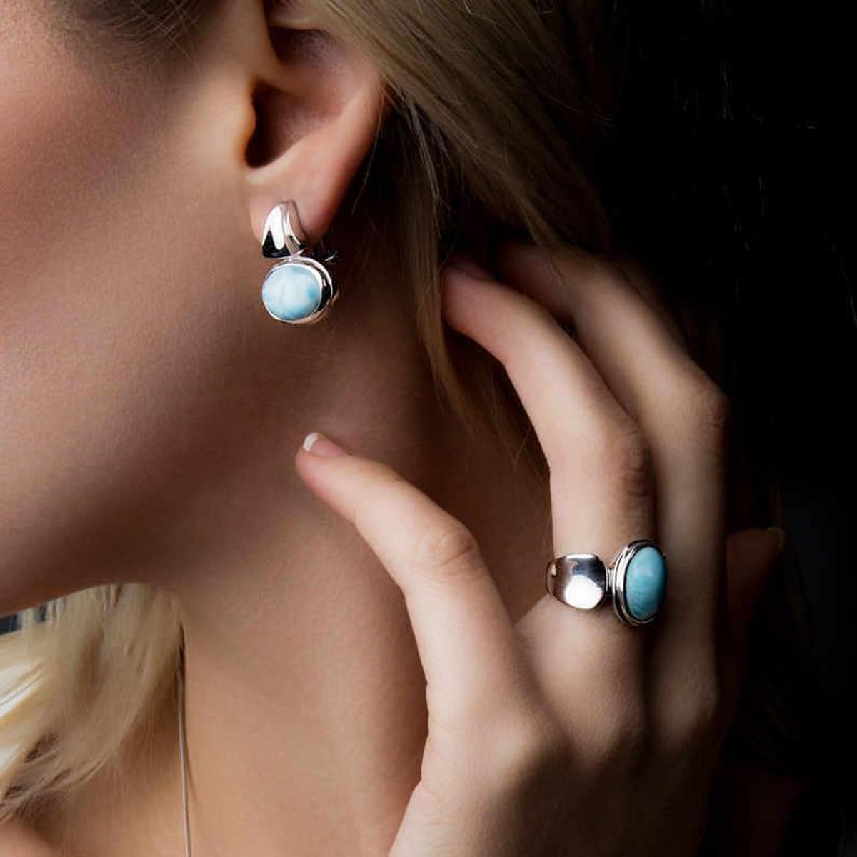 Caressa Ring - Rcare00-00-Marahlago Larimar-Renee Taylor Gallery