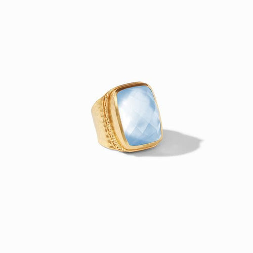 Catalina Statement Gold Iridescent Chalcedony Blue Ring - R129GICA-Julie Vos-Renee Taylor Gallery