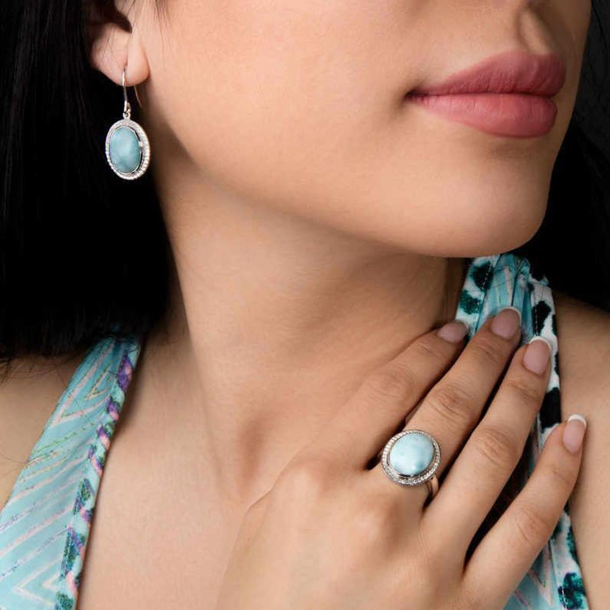 Clarity Oval Earrings - Eclar00-00-Marahlago Larimar-Renee Taylor Gallery
