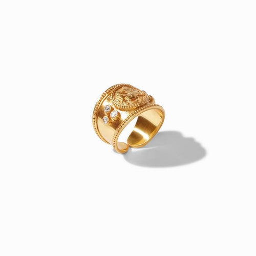 Coin Crest Gold Cz Ring - R144GCZ-Julie Vos-Renee Taylor Gallery