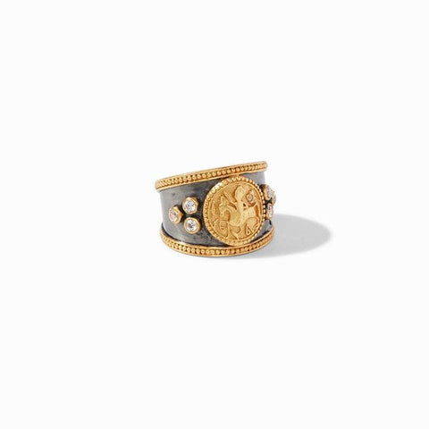 Coin Crest Mixed Metal Cz Ring - R144OGCZ-Julie Vos-Renee Taylor Gallery
