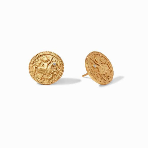 Coin Gold Cz Stud Earring - ER605GCZ00-Julie Vos-Renee Taylor Gallery