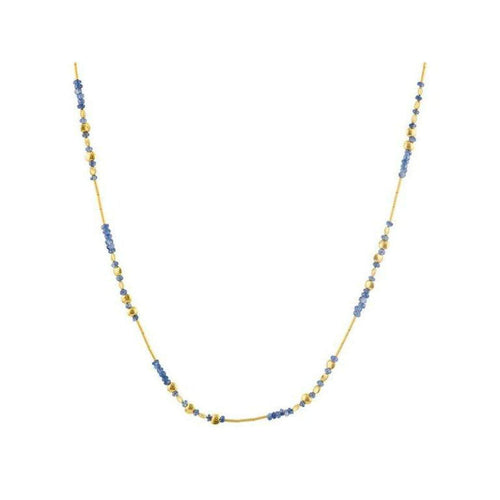 Delicate Hue 24K Gold Blue Sapphire Necklace - DZN-LTM-SA-SP-18-GURHAN-Renee Taylor Gallery