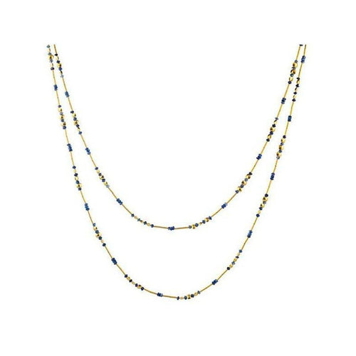 Delicate Hue 24K Gold Blue Sapphire Necklace - DZN-LTM-SA-SP-48-GURHAN-Renee Taylor Gallery