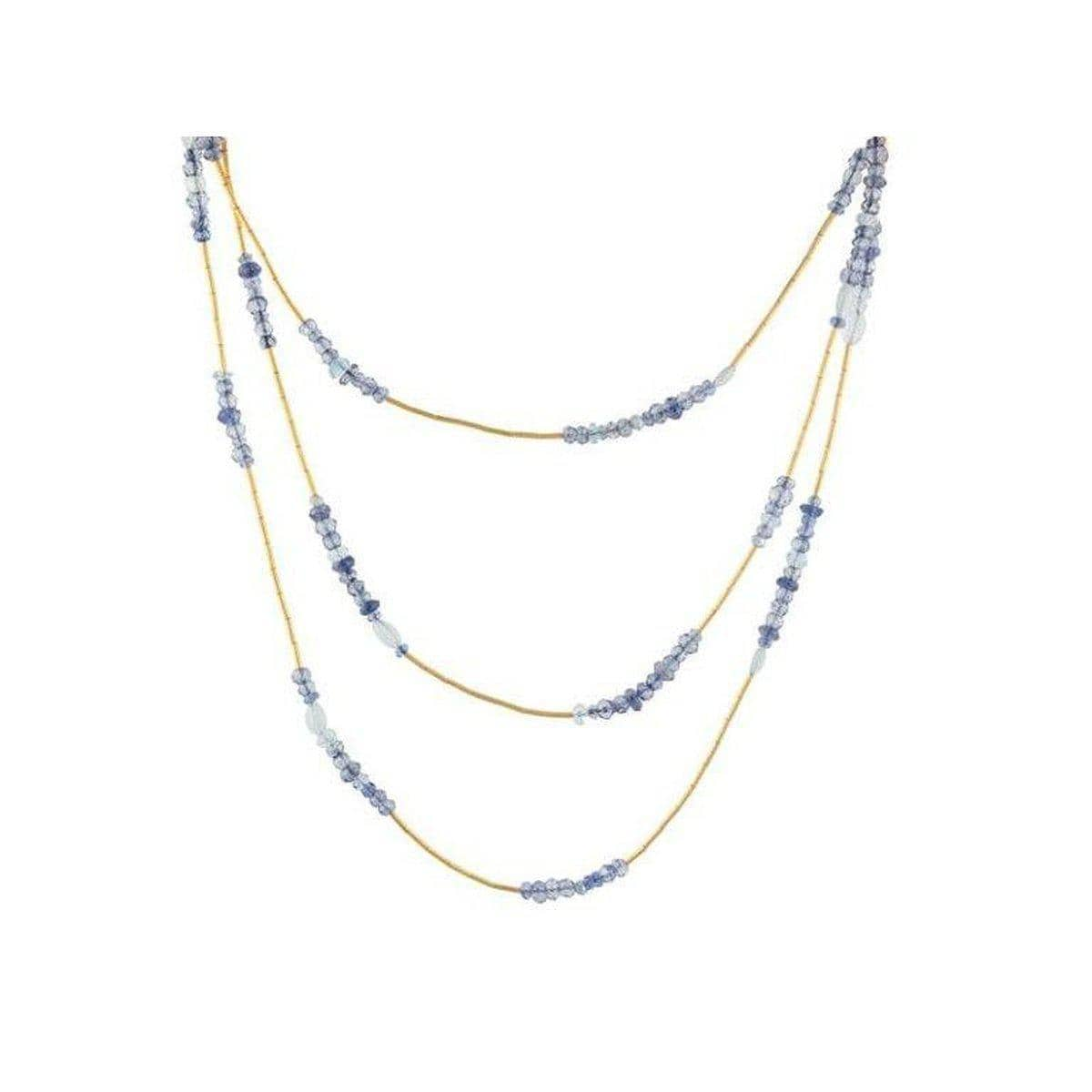 Delicate Hue 24K Gold Multi Necklace - DZN-MSMB-L-DBL-49