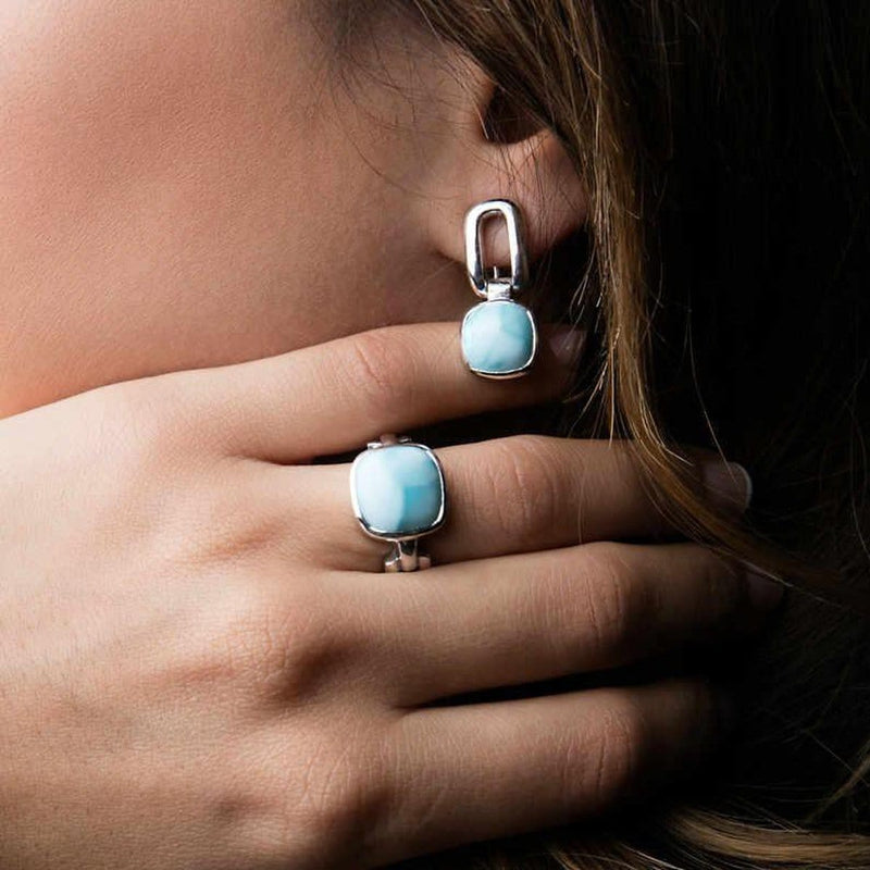 Del Mar Earrings - Edelm00-00-Marahlago Larimar-Renee Taylor Gallery