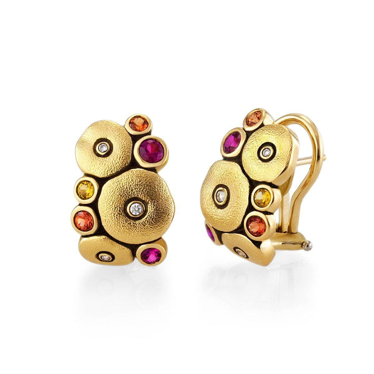 18K Orchard Orange Pink Mix Sapphire & Diamond Earrings - E-100S-Alex Sepkus-Renee Taylor Gallery