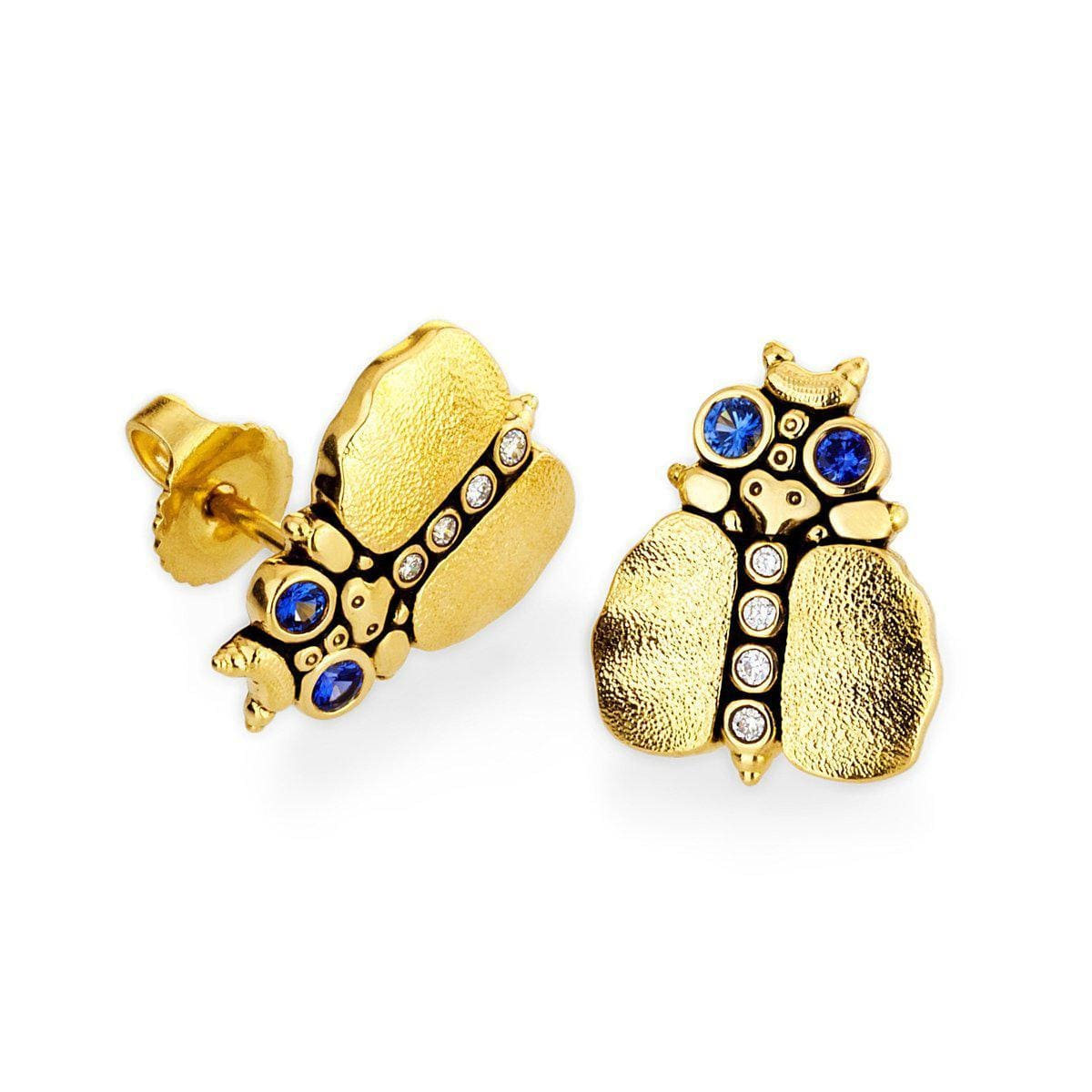 18K Entomology IV Thoughtful Beetle Blue Sapphire & Diamond Earrings - E-108-Alex Sepkus-Renee Taylor Gallery