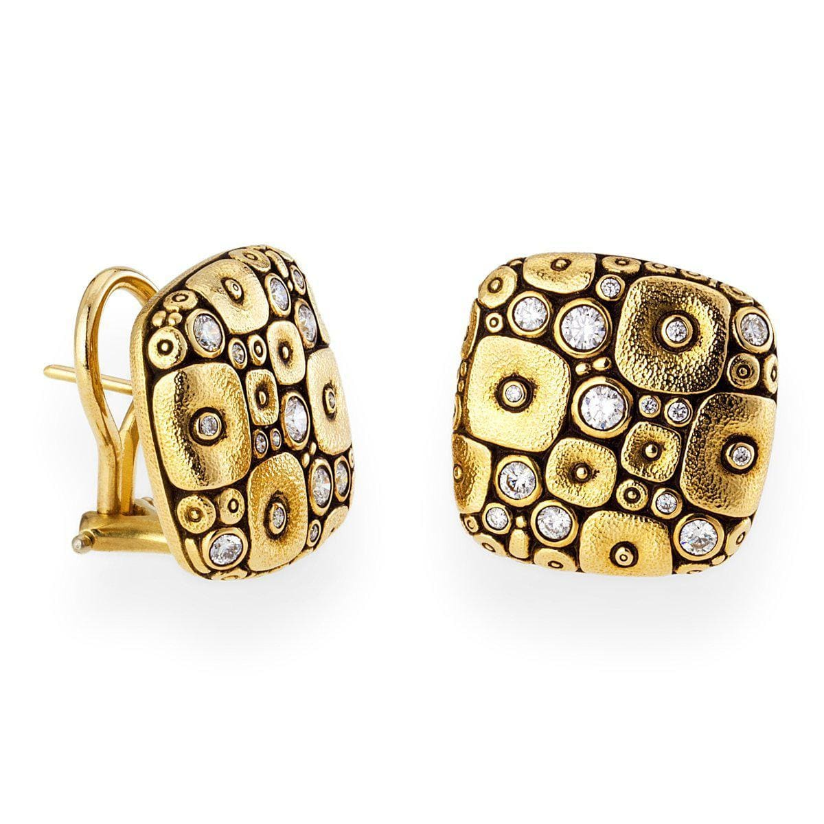 18K Soft Mosaic Diamond Earrings - E-115D-Alex Sepkus-Renee Taylor Gallery