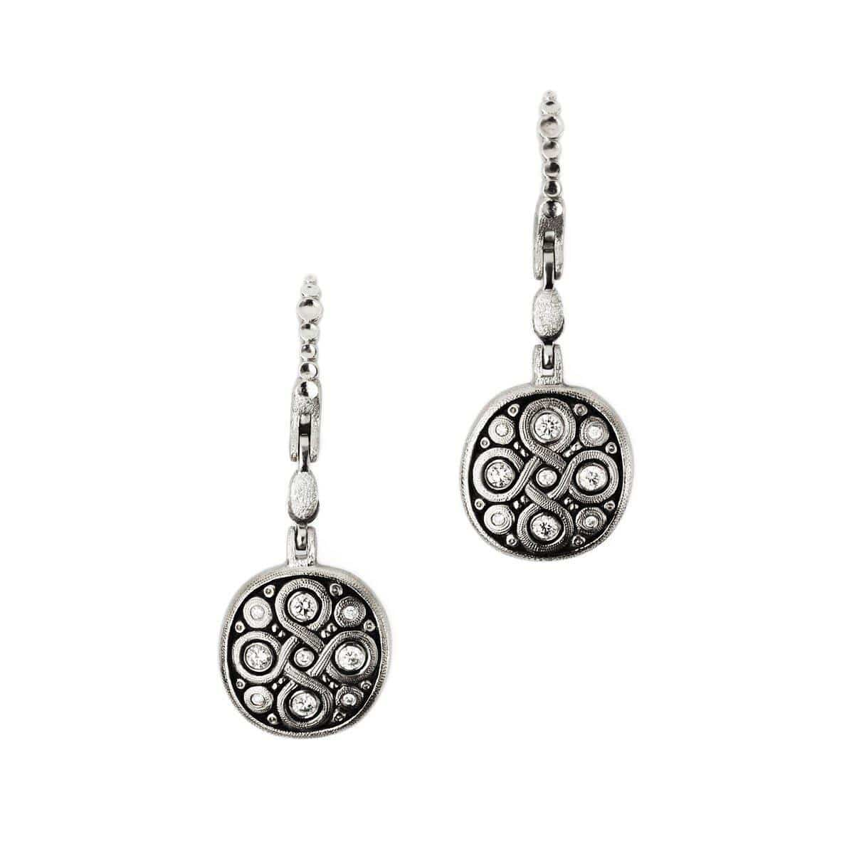 Platinum Celtic Spring Diamond Earrings - E-195PD-Alex Sepkus-Renee Taylor Gallery