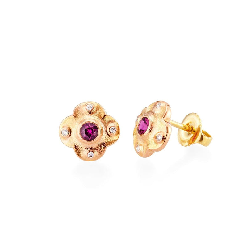 18K Floral Pink Sapphire & Diamond Stud Earring - E-217RS-Alex Sepkus-Renee Taylor Gallery