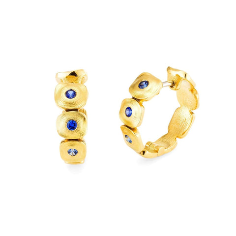 18K Dancing Squares Blue Sapphire Huggie Earrings - E-232S-Alex Sepkus-Renee Taylor Gallery