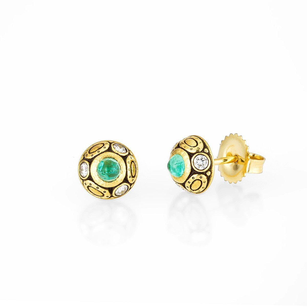 18K Oval Work Cabochon Paraiba Tourmaline & Diamond Earrings - E-69-Alex Sepkus-Renee Taylor Gallery