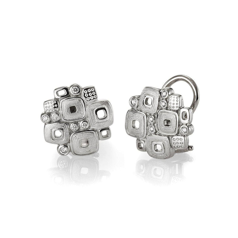 Platinum Little Windows Diamond Huggie Earrings - E-84P-Alex Sepkus-Renee Taylor Gallery