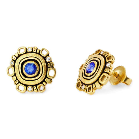 18K Blue Sapphire & Diamond Earrings - E-85S-Alex Sepkus-Renee Taylor Gallery