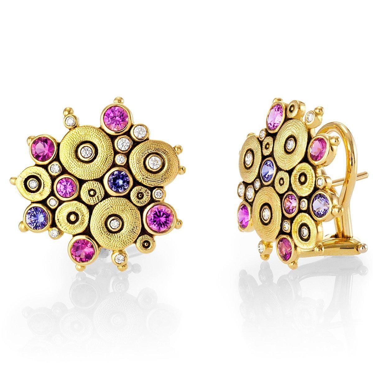 18K Ocean Pink/Purple Mix Sapphire & Diamond Earrings - E-90S-Alex Sepkus-Renee Taylor Gallery