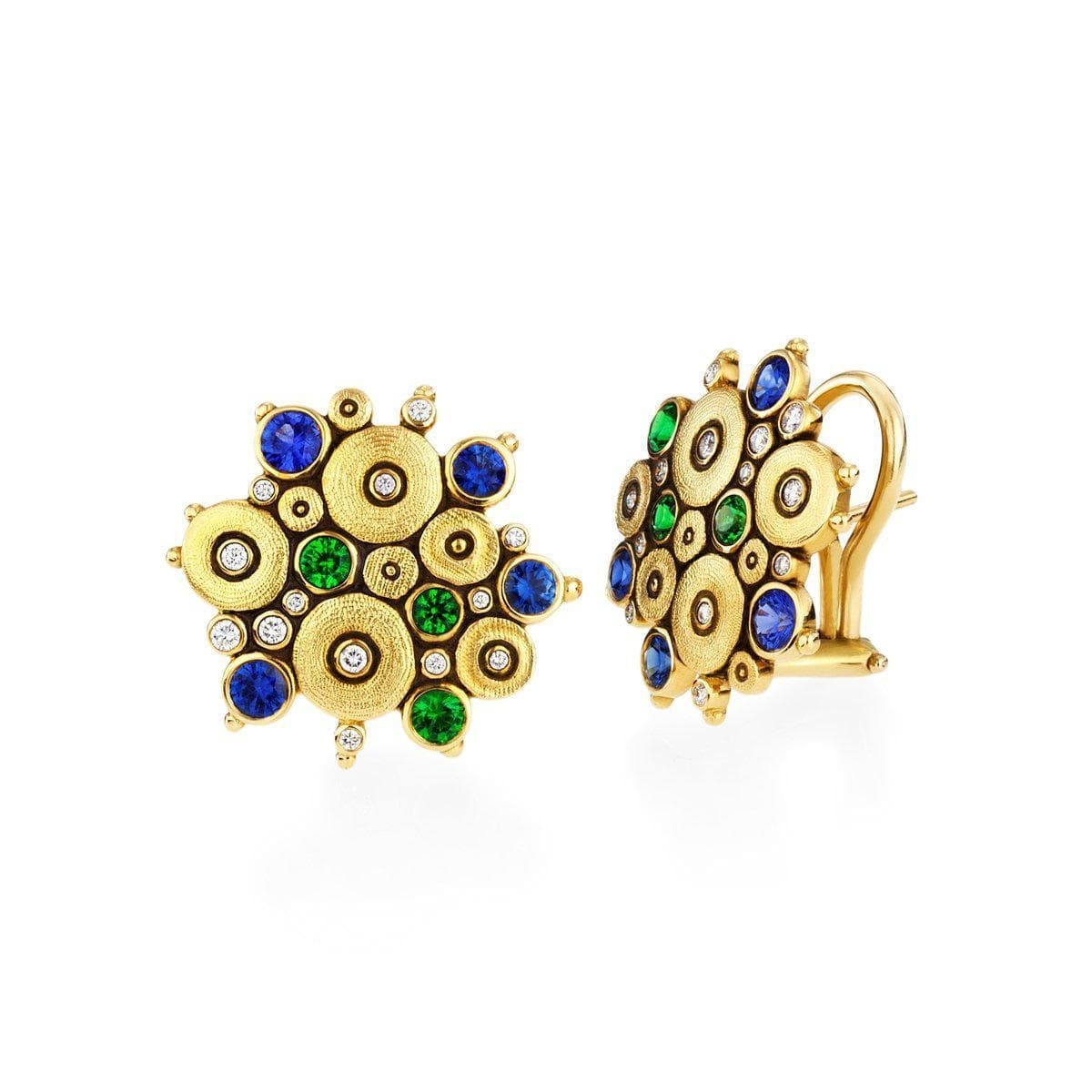 18K Ocean Blue Green Mix Sapphire Tsavorite & Diamond Earrings - E-90-Alex Sepkus-Renee Taylor Gallery
