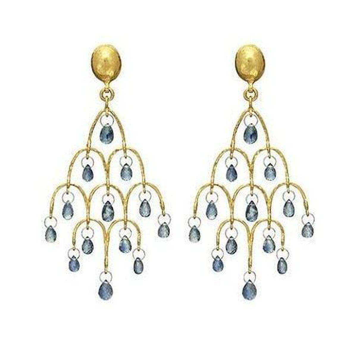 Delicate Dew 24K Gold Sapphire Earrings - E-CHDL-FSB-BL-L-97JT-GURHAN-Renee Taylor Gallery