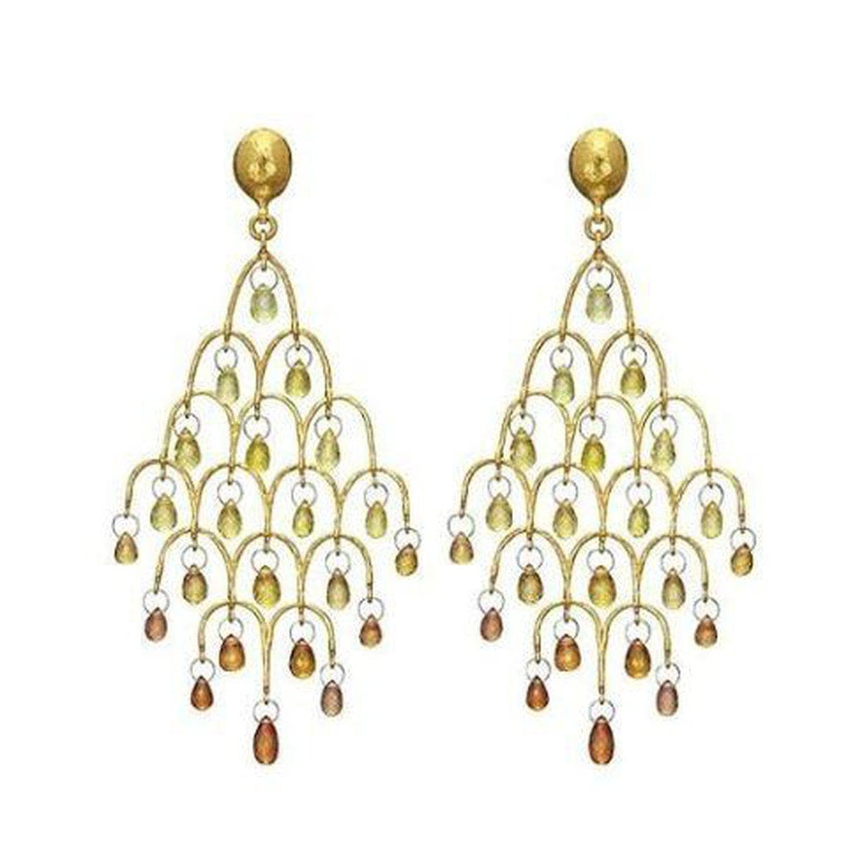 Delicate Hue 24K Gold Sapphire Earrings - E-CHDL-FSB-OY-L-97JT-GURHAN-Renee Taylor Gallery