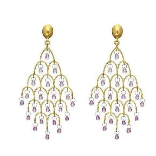Delicate Hue 24K Gold Sapphire Earrings - E-CHDL-FSB-PN-L-97JT-GURHAN-Renee Taylor Gallery