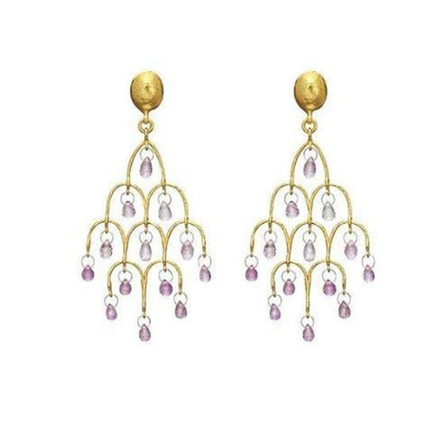 Delicate Hue 22K Gold Sapphire Earrings - E-CHDL-FSB-PN-S-97JT-GURHAN-Renee Taylor Gallery