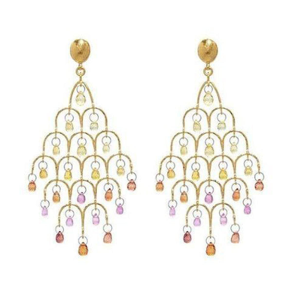 Delicate Hue 24K Gold Sapphire Mix Earrings - E-CHDL-FSB-PO-L-97JT-GURHAN-Renee Taylor Gallery