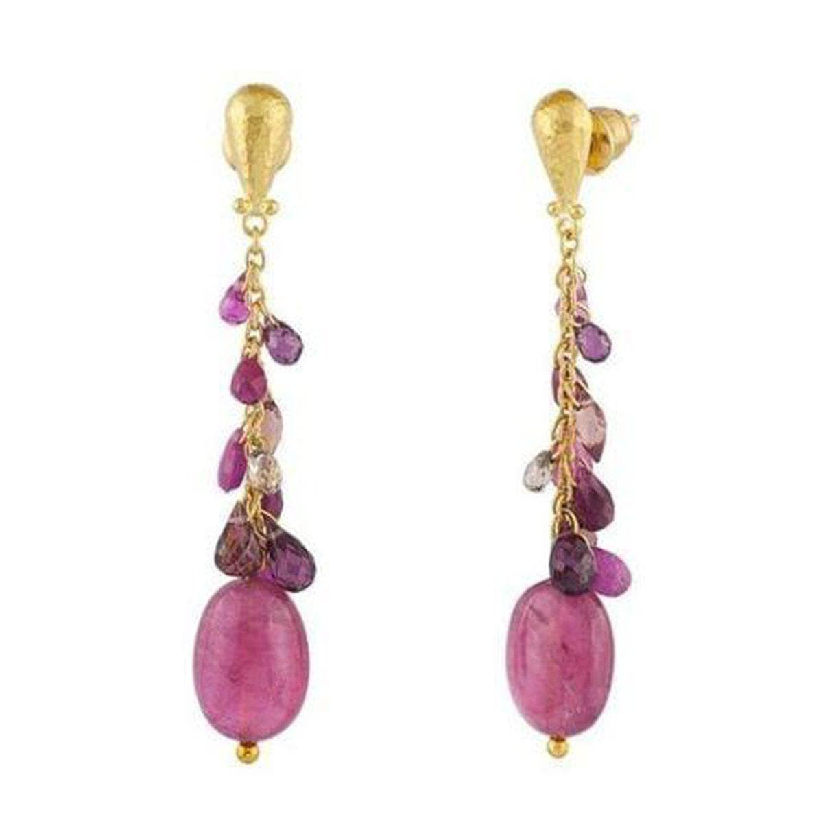 Delicate Hue 24K Gold Multi Stone Earrings - E-CLS2-PNK-BC-GURHAN-Renee Taylor Gallery
