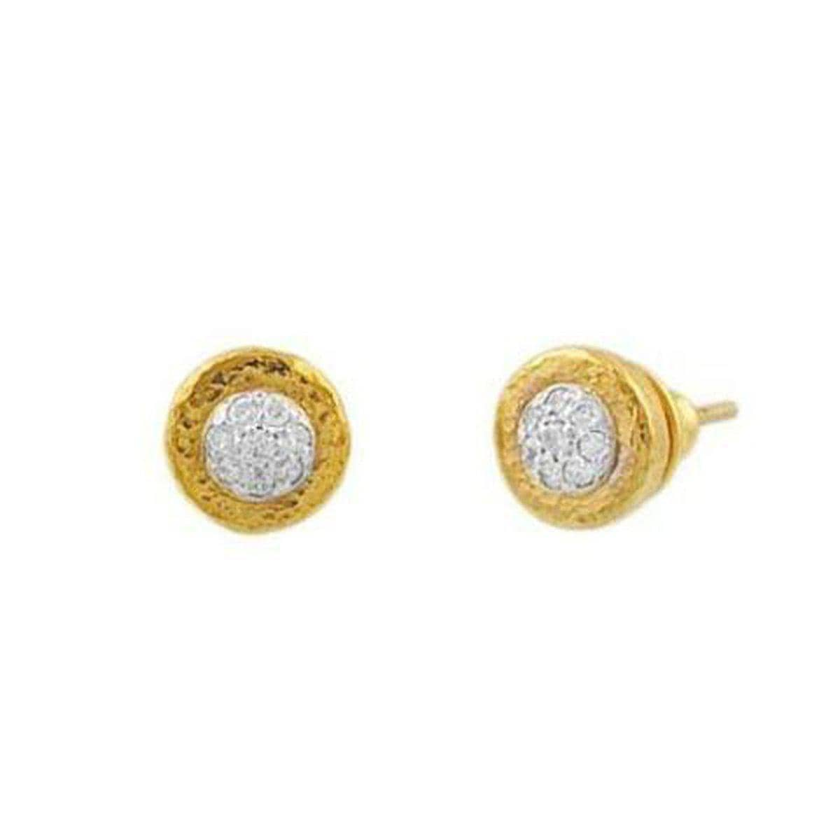 Delicate 24K Gold White Diamond Earrings - E-DRPVDI-GF