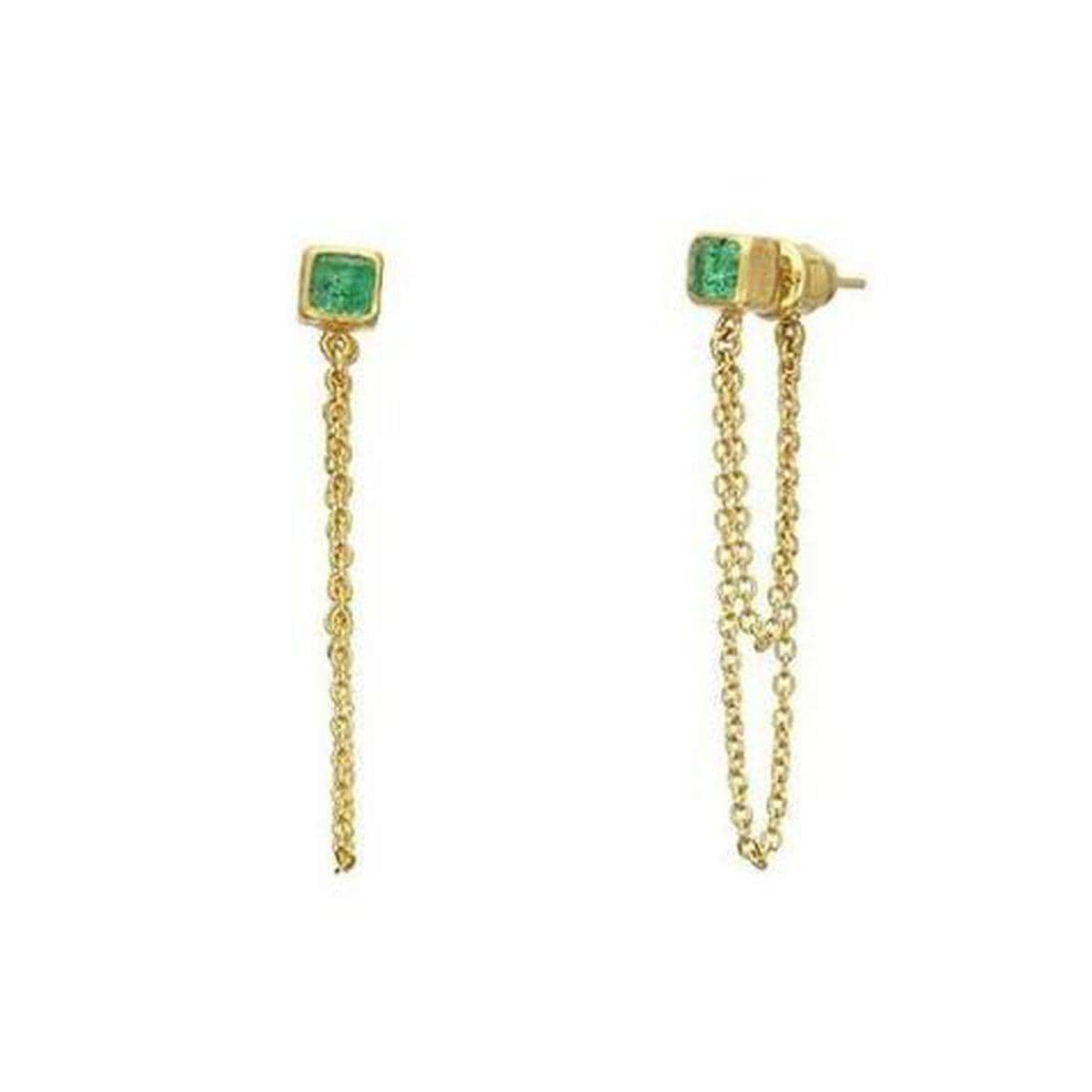 Rainbow 24K Gold Emerald Earrings - E-LE-1CEM-2CH-L-PL