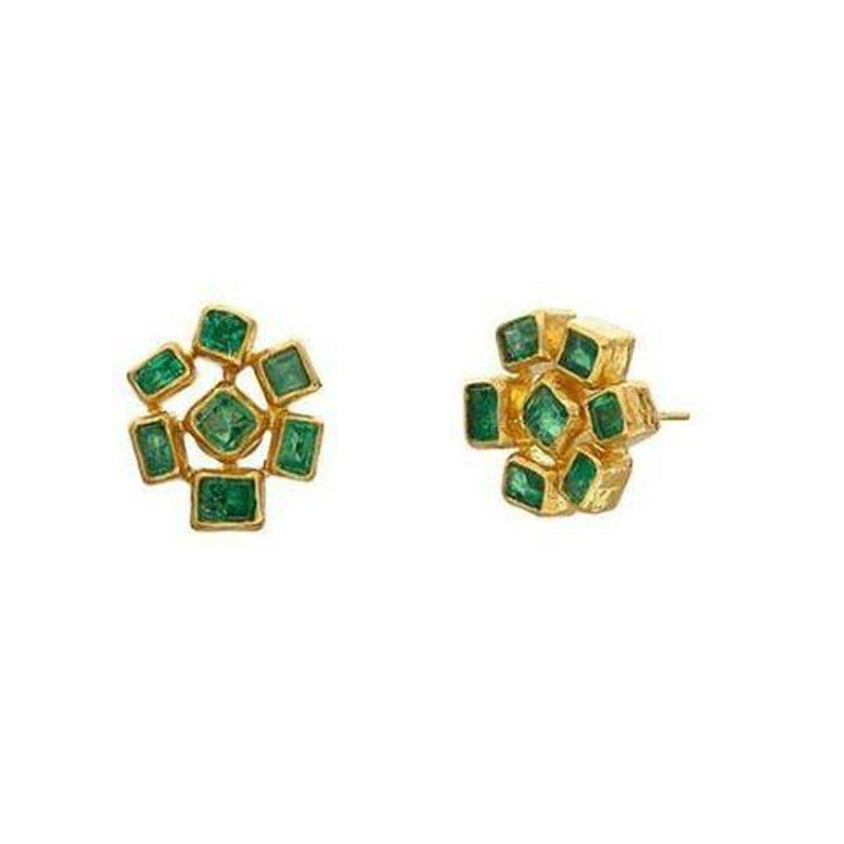 Rainbow 24K Gold Emerald Earrings - E-LE-7CEM-CLS15-GURHAN-Renee Taylor Gallery