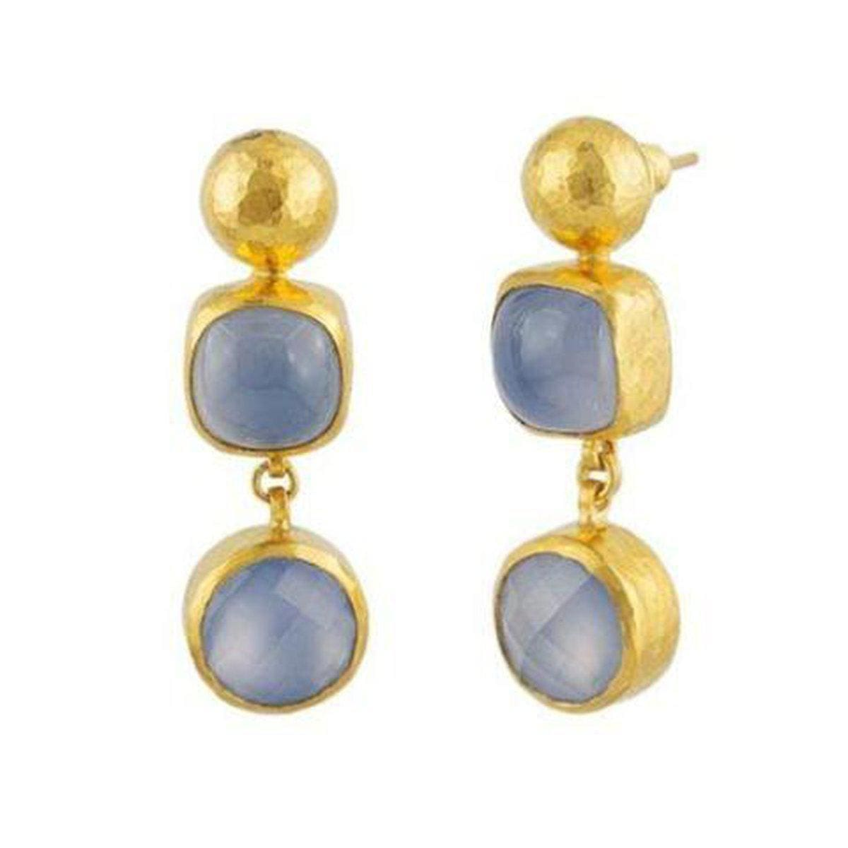 Amulet Hue 24K Gold Chalcedony Earrings - E-U20058-CA-GURHAN-Renee Taylor Gallery