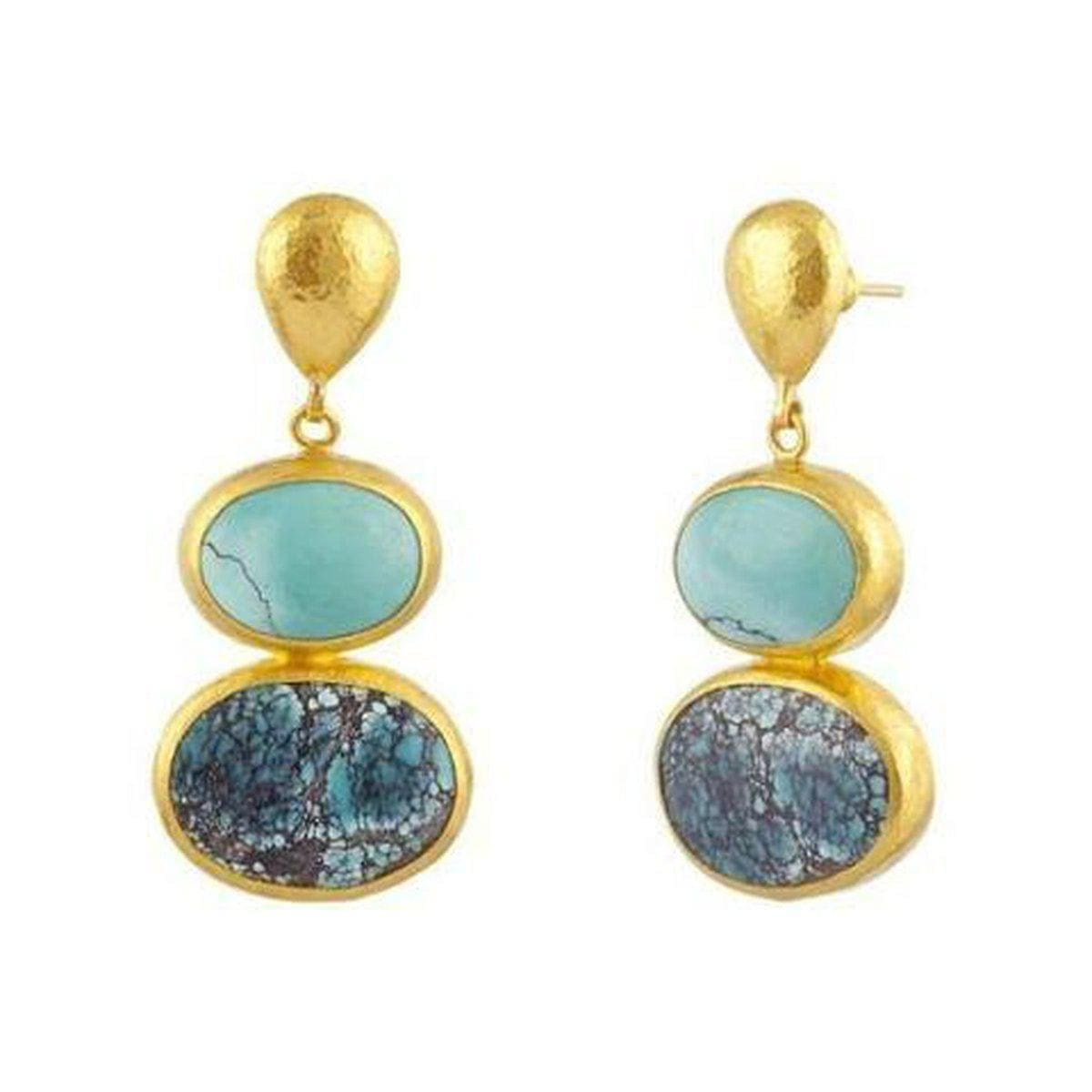 Amulet Hue 24K Gold Turquoise Earrings - E-U20107-TQ-GURHAN-Renee Taylor Gallery