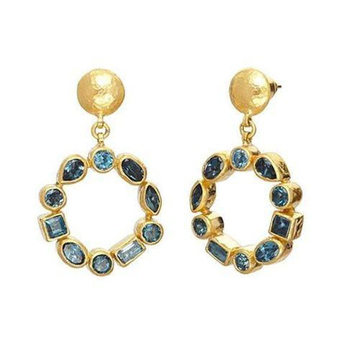 Pointelle 24K Gold Blue Topaz Earrings - E-U23579-BT-GURHAN-Renee Taylor Gallery